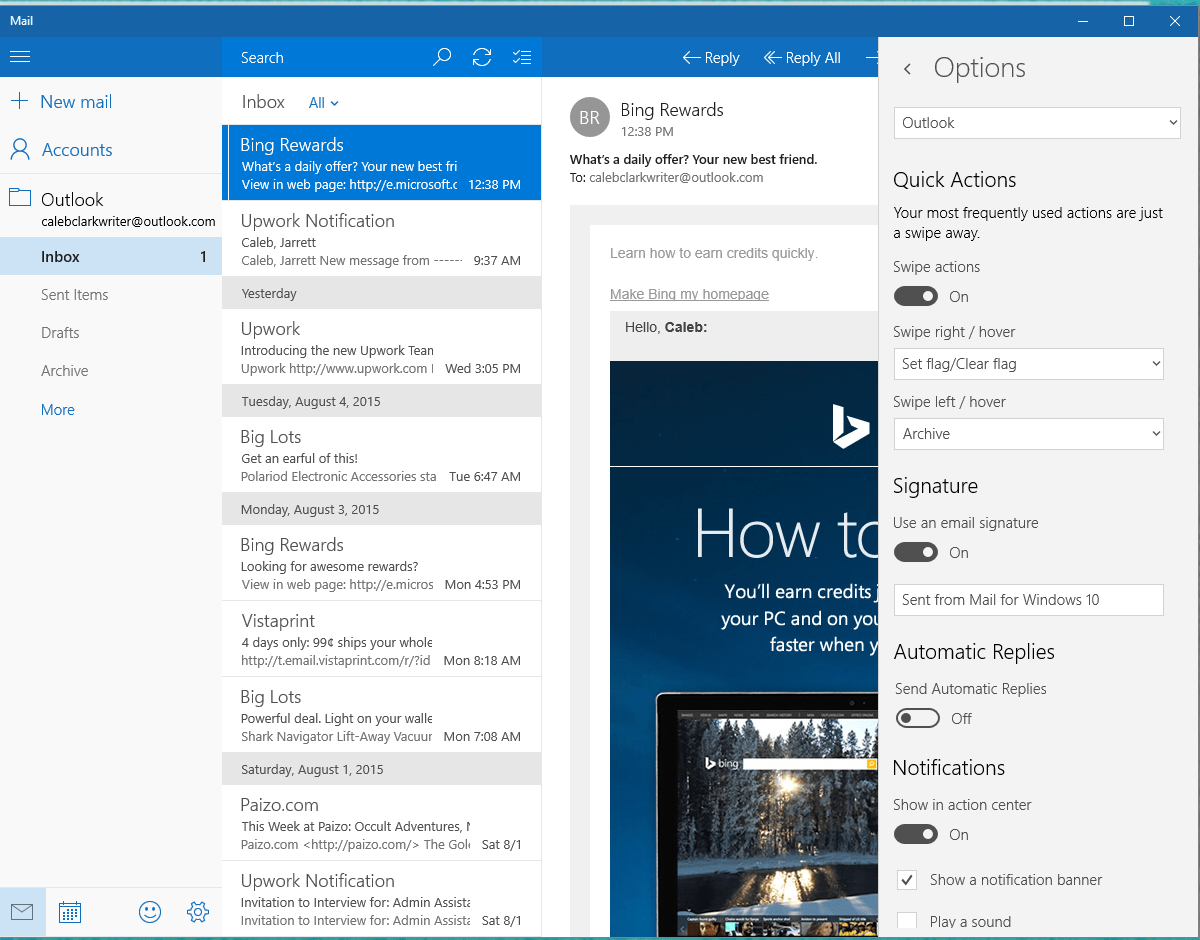 Mail on Windows 10