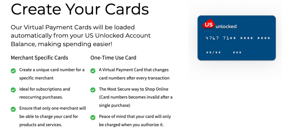 US Unlocked Virtual payment cards